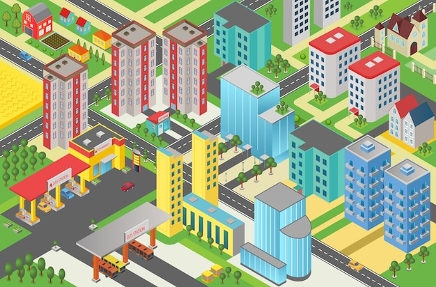 Isometric urban modern city megapolis top view