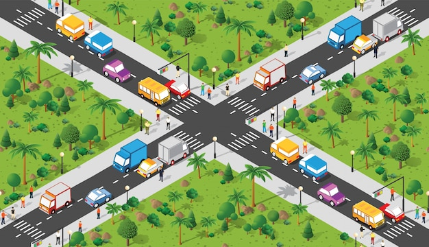 Isometric urban road map