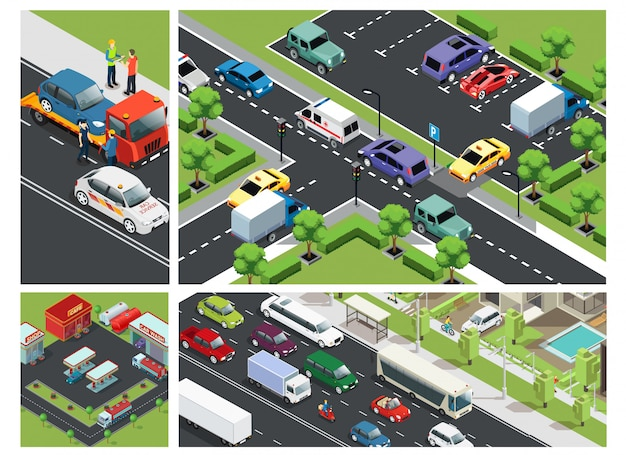 Isometric urban traffic composition with cars moving on road parking building gas station and roadside assistance