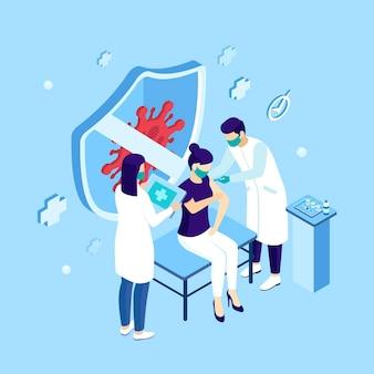 Illustrazione isometrica della campagna di vaccinazione