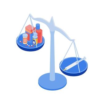 バランスの等尺性ワクチン接種組成物は、カップの図にたくさんの薬と注射器で重量を量ります