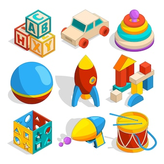 Isometric of various childrens toys