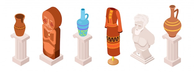 Isometric vector ancient museum exhibits, clothes and totems collection