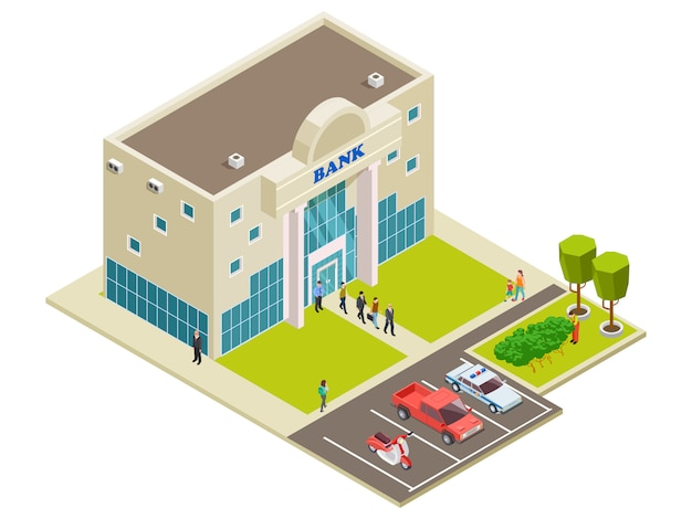 Isometric vector bank location with people