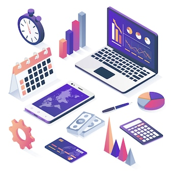 Isometric vector. collection of business objects.