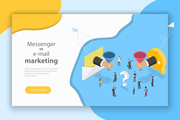Isometric vector concept of email vs messenger marketing