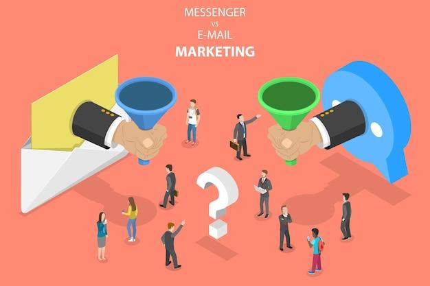 Изометрическая векторная концепция электронной почты и мессенджер-маркетинга