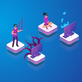 Isometric vector gaming in virtual reality in 3d Free Vector