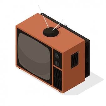 Isometric vector icon of retro television tv set with aerial on the top. old style isometric 3d tv illustration isolated