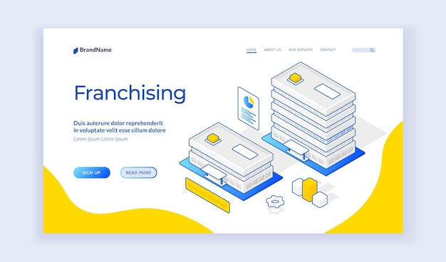 Isometric vector illustration of buildings of company branch offices representing franchising business expansion strategy on banner. isometric web banner, landing page template