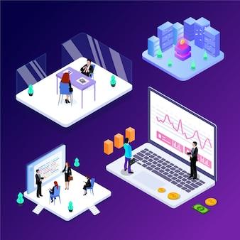Isometric vector illustration of business office scene modern future technology.