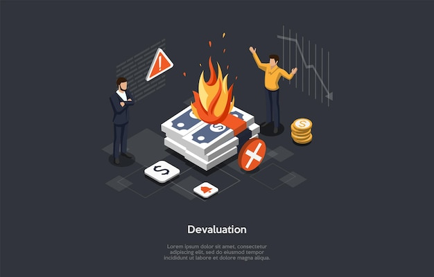 Isometric vector illustration in cartoon 3d style. composition on dark background with infographics. financial devaluation, economic problems, business bankruptcy concept. two characters standing. Premium Vector