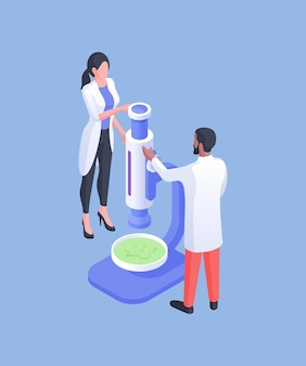 Isometric vector illustration of diverse man and woman in white coats examining green substance under microscope while working in laboratory against blue background