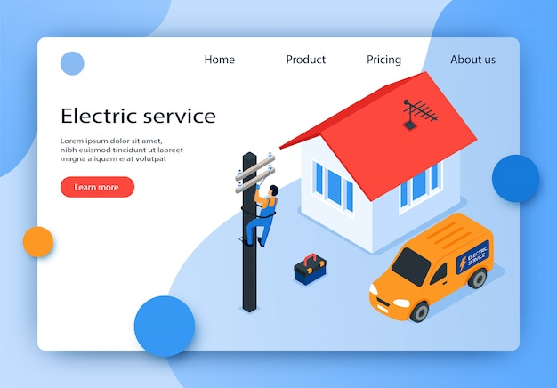 Isometric vector illustration electric service.