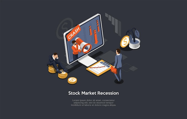漫画の3dスタイルの等角投影ベクトル図。暗い背景の構成、インフォグラフィック。株式市場の不況、金融問題、ビジネスのクラッシュ、経済危機の概念。コンピューター、人