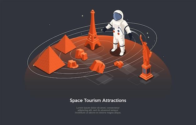 만화 3d 스타일의 아이소메트릭 벡터 일러스트 레이 션. 인포 그래픽과 함께 어두운 배경에 구성입니다. 우주 관광 명소 개념입니다. 우주여행. 행성 표면에 서 있는 소송에서 우주 비행사