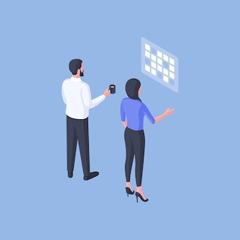 Isometric vector illustration of male and female colleagues with cup of hot drink examining calendar and making plans on blue background