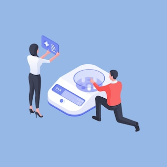 Isometric vector illustration of male and female scientists using analyzing machine to research medical substances in lab against blue background