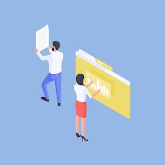 Isometric vector illustration of male worker reading paper near female colleague analyzing online graph during work in office on blue background