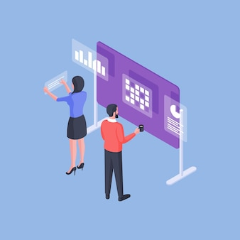 Isometric vector illustration of man and woman analyzing various data on whiteboard during work in office against blue background