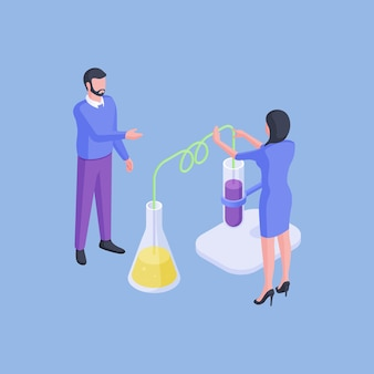 Isometric vector illustration of man and woman examining vials with colorful fluids while conducting experiment in laboratory against blue background
