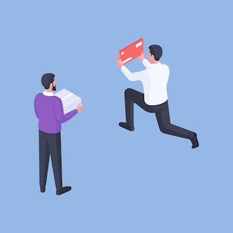 Isometric vector illustration of minimal contemporary guys with carton box and red envelope while making shipments against bright blue background