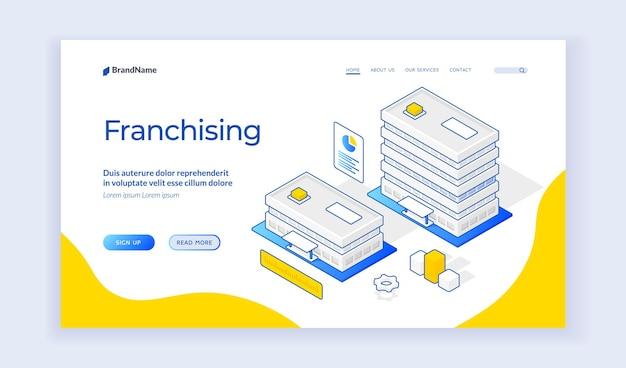 Изометрические векторные иллюстрации зданий филиалов компании, представляющие стратегию расширения франчайзингового бизнеса на баннере. изометрический веб-баннер, шаблон целевой страницы