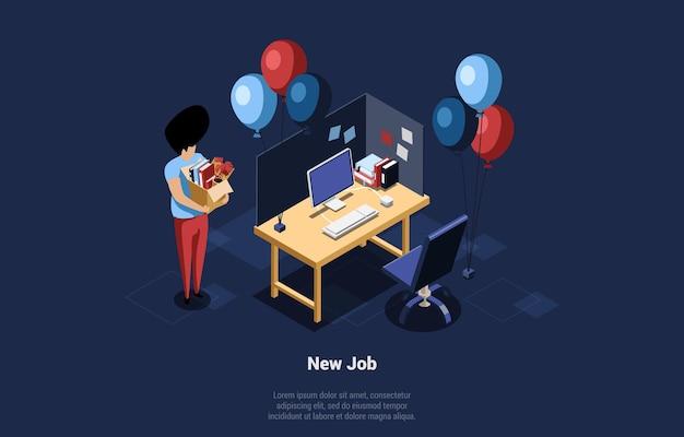 オフィスアイテム、コンピューターとお祝いの風船が近くにあるオープンスペースの作業場所の机と段ボール箱を運ぶ男の等角投影図。漫画の3dスタイルの新しい仕事の概念構成。