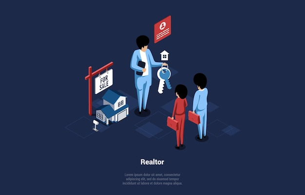 Isometric vector illustration of realtor. cartoon 3d art of male character standing near small house keeping keys and talking to man and woman customers. real estate agent, home selling organisation.