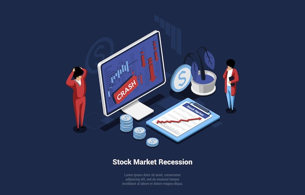 Isometric vector illustration of recession in economy and stock market. economic crisis concept on dark background. 3d composition in cartoon style of shocked businessmen looking at computer screen.