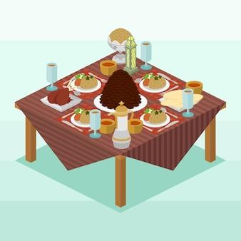 Isometric vector illustration represents arabic dishes for break fasting