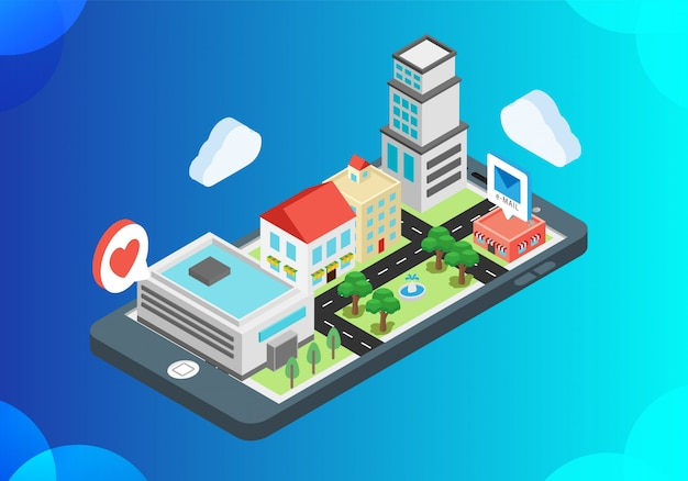 Isometric vector illustration of smart city building
