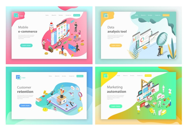 Isometric vector landing page headers for mobile ecommerce