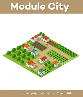 Isometric vector nature rural