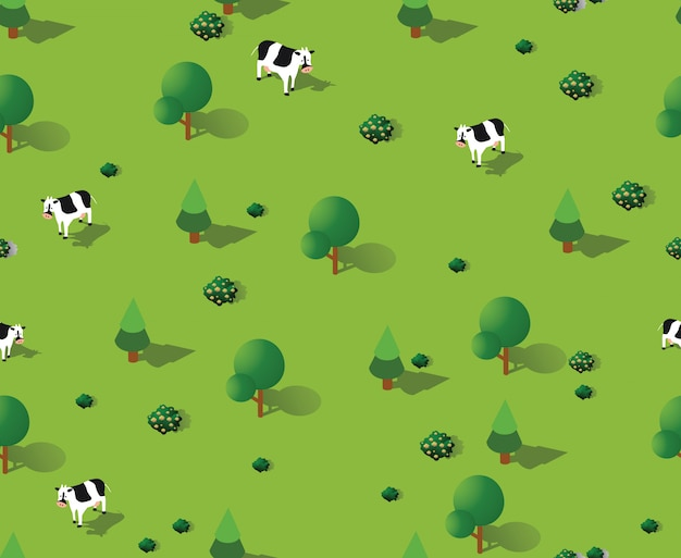 Isometric vector nature seamless