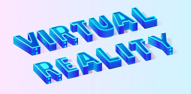 Isometric vector text virtual reality illustration