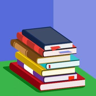 Isometric vibrant book stack illustration