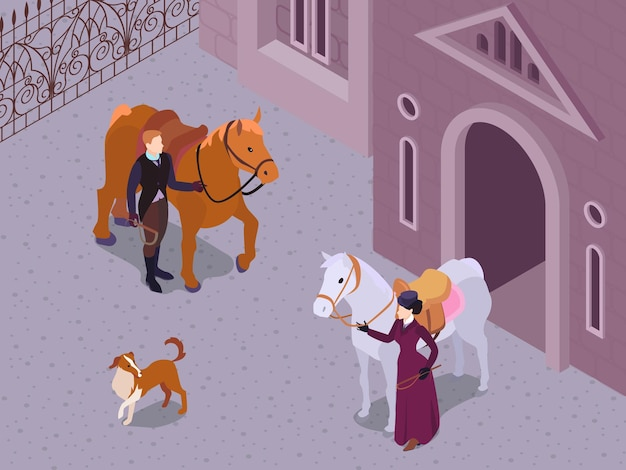 Isometric victorian fashion composition with outdoor scenery and characters of gentleman and lady snaffling