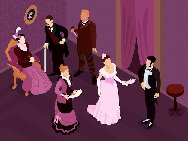 Isometric victorian fashion party composition with indoor view of medieval saloon