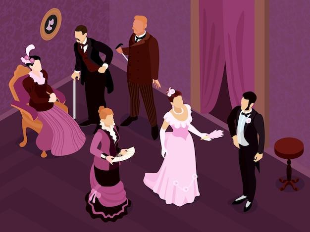 중세 살롱의 실내 전망을 갖춘 아이소메트릭 빅토리아 패션 파티 구성