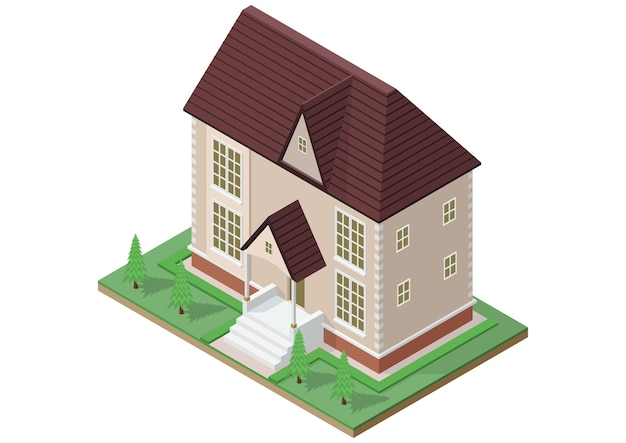 Isometric of victorian style house.