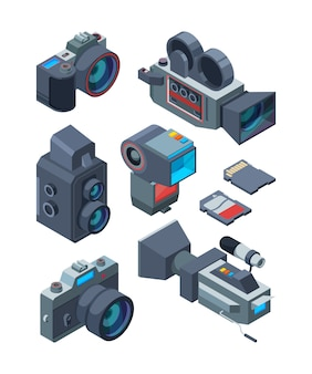 Isometric video and photo cameras. vector pictures of various equipment for video and photo studio