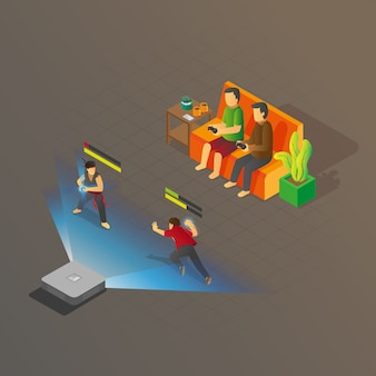 Isometric view of 2 people playing console fighting game
