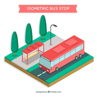 Isometric view of bus and bus stop