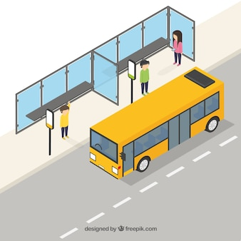 Vista assonometrica di autobus e fermata dell'autobus
