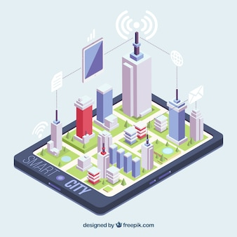 Isometric view of a city on a mobile phone Premium Vector