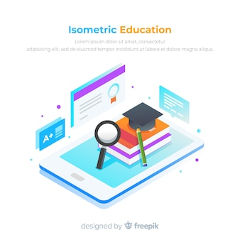 Isometric view of colorful education concept