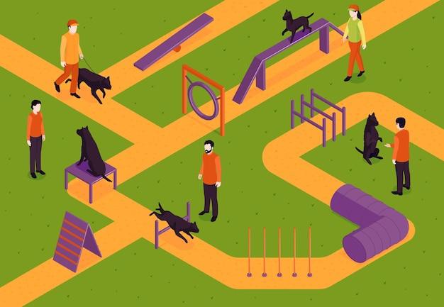 Vista isometrica della composizione con addestramento del cane
