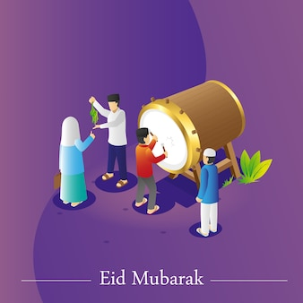 Isometric view of eid greetings