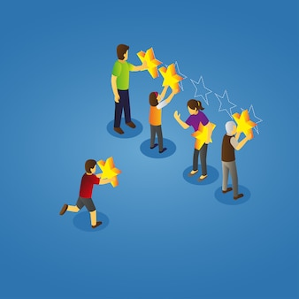 Isometric view of family giving rating
